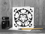 Gothic Bat Greeting Card - Geometric Bats - Five