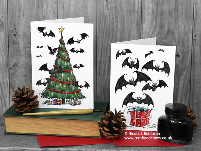 Gothic Christmas Cards - Set of 6 - Bat Cards