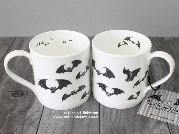 Bat Mug, Bats Gift UK © Nicola L Robinson www.teethandclaws.co.uk English Fine Bone China Bat Mug Handmade in the UK