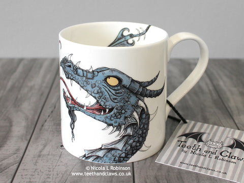 Blue dragon mug © Nicola L Robinson | Teeth and Claws