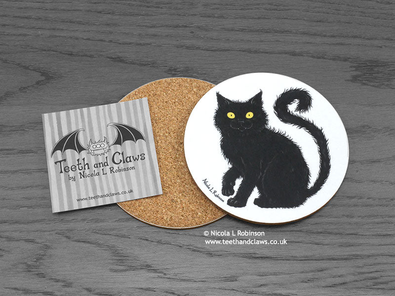 Cat Coaster - Black Cat © Nicola L Robinson | www.teethandclaws.co.uk