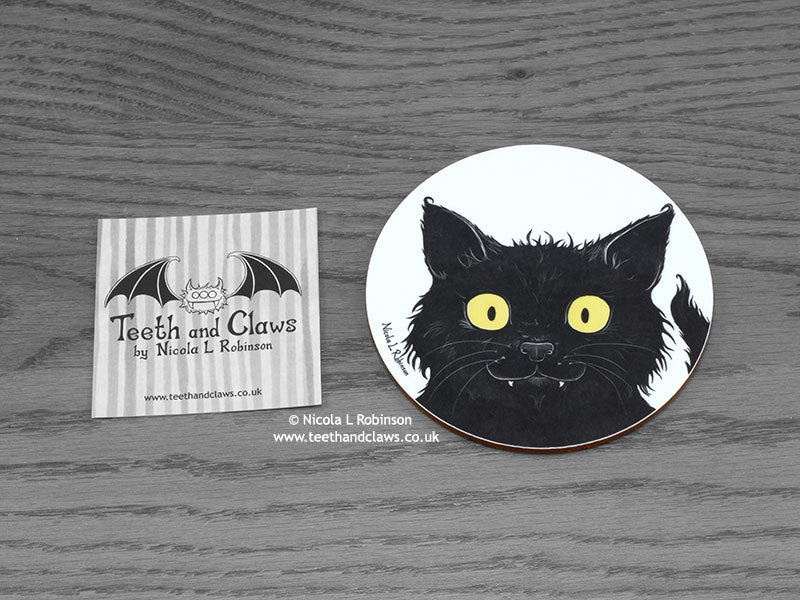 Cat Coaster - Black Cat Portrait