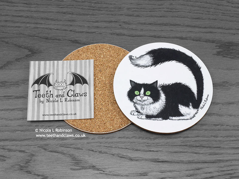 Cat Coaster - Black and white Cat © Nicola L Robinson | www.teethandclaws.co.uk