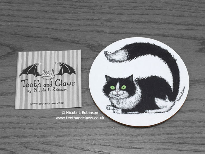 Cat Coaster - Tuxedo Cat © Nicola L Robinson | www.teethandclaws.co.uk