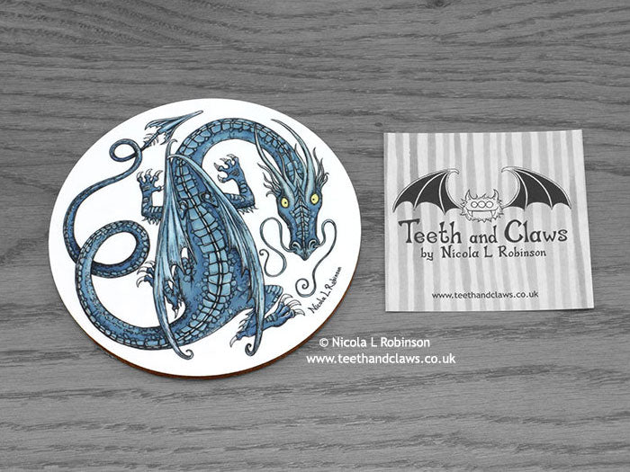 Dragon Coaster - Blue Dragon - Round © Nicola L Robinson | www.teethandclaws.co.uk