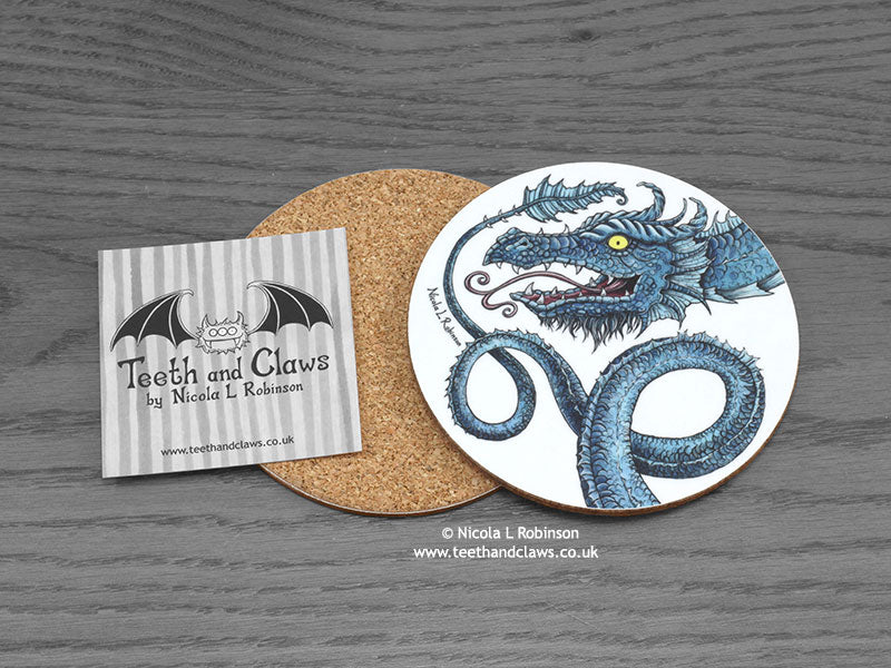 Dragon Coaster - Blue Serpent Dragons © Nicola L Robinson | Teeth and Claws www.teethandclaws.co.uk