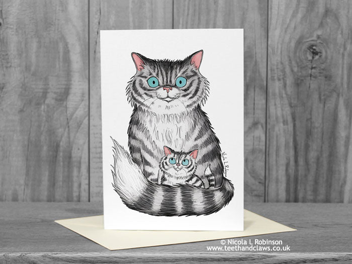 Cat Card - Cat and Kitten © Nicola L Robinson | Teeth and Claws