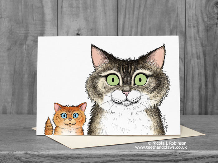 Cat Card - Tabby Cat and Ginger Kitten © Nicola L Robinson | Teeth and Claws