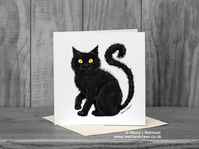 Black Cat Greeting Card © Nicola L Robinson | Teeth and Claws