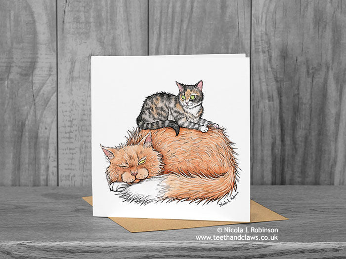 Sleeping Cat Greeting Card © Nicola L Robinson | Teeth and Claws