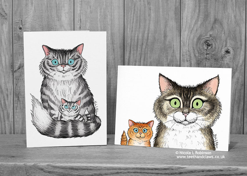 Cat Mother's Day Cards - Cat and Kitten © Nicola L Robinson | Teeth and Claws