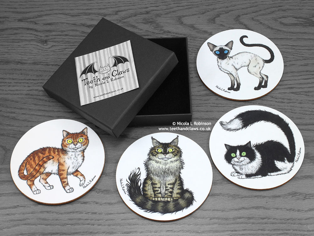 Cat Coasters - Maine Coon, Siamese, Tuxedo & Ginger Cat