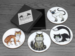 Cat Coasters set © Nicola L Robinson www.teethandclaws.co.uk
