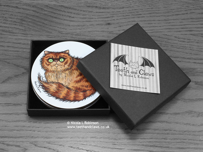 Cat Drink Coasters Cat Breeds Box Set © Nicola L Robinson www.teethandclaws.co.uk