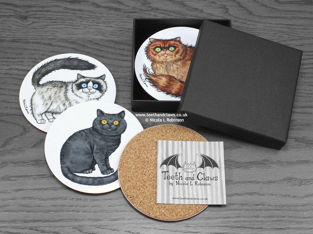 Cat Drink Coasters Cat Breeds © Nicola L Robinson www.teethandclaws.co.uk Ragdoll Persian Cat Gift