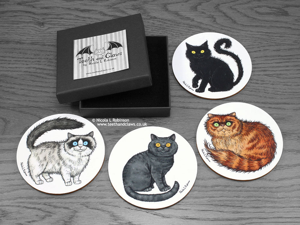Cat Coasters - Persian, Ragdoll, British Shorthair & Black Cat