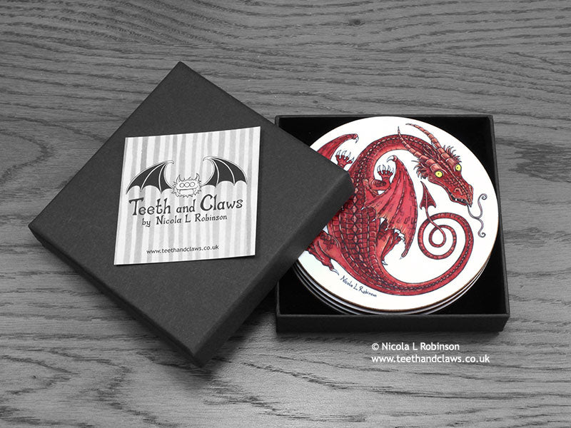 Dragon Drink Coasters Box Set © Nicola L Robinson www.teethandclaws.co.uk Gift Barware