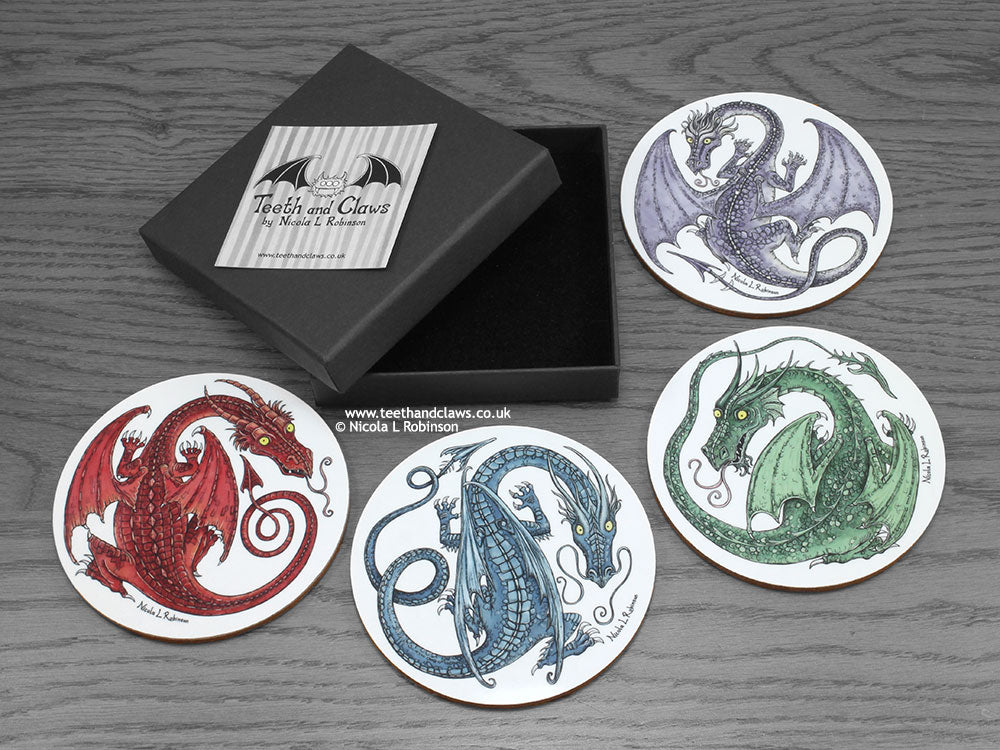 Dragon Coasters gift box set © Nicola L Robinson | Teeth and Claws www.teethandclaws.co.uk