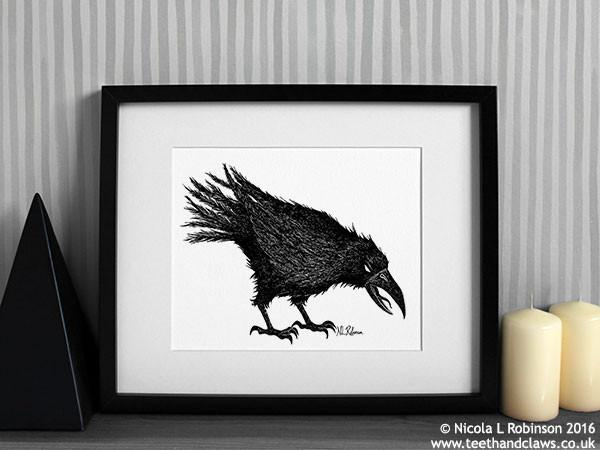 © Nicola L Robinson 2016 www.teethandclaws.co.uk Halloween Crow Raven Art Print Gothic home decor gift