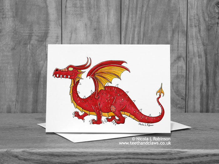 Red Dragon Greeting Card © Nicola L Robinson | Teeth and Claws