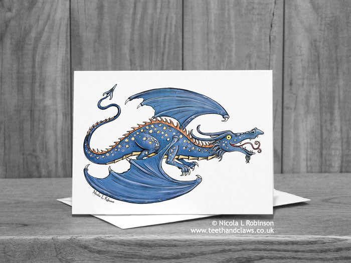 Blue Flying Dragon Greeting Card © Nicola L Robinson | Teeth and Claws