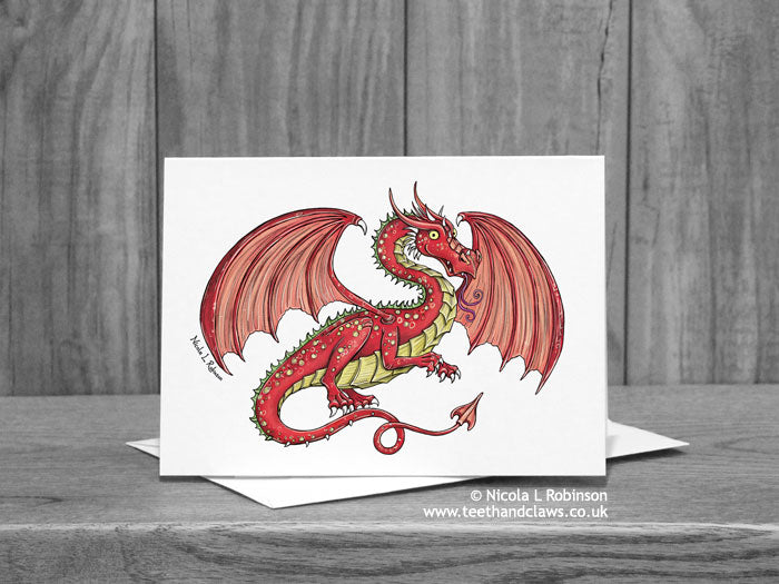 Red Flying Dragon Greeting Card © Nicola L Robinson | Teeth and Claws