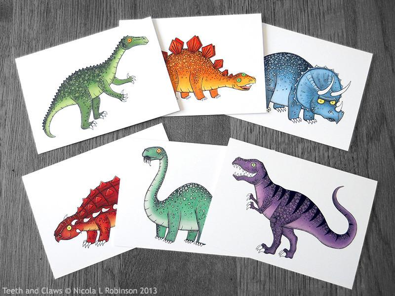© Nicola L Robinson 2015 www.teethandclaws.co.uk Dinosaur greeting cards