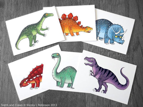 Dinosaur Greeting Cards / Notecards - Set of 6