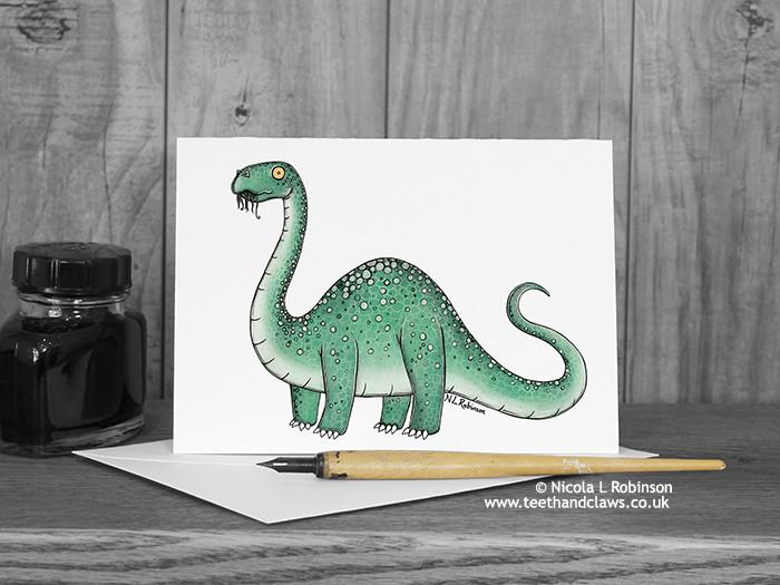 Dinosaur Greeting Card - Diplodocus © Nicola L Robinson | Teeth and Claws