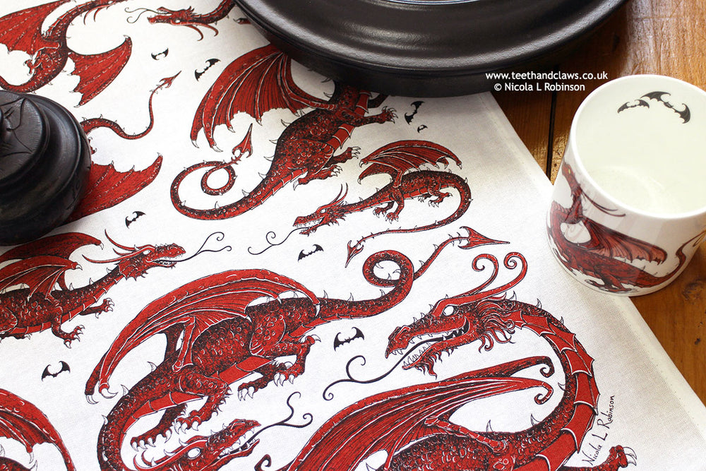 Red Dragons Organic Cotton Tea Towel © Nicola L Robinson | Teeth and Claws