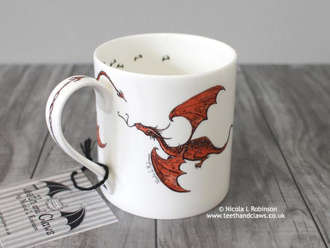 Dragon Mug - English Fine Bone China Flying Dragons.