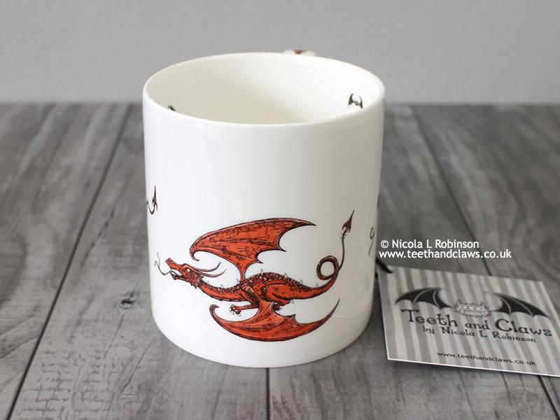 Red Flying Dragons - Fine Bone China Mug © Nicola L Robinson | Teeth and Claws