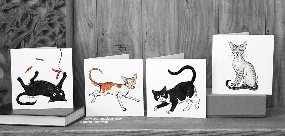 Four Katzenworld Cats Cat Cards © Nicola L Robinson | Teeth and Claws