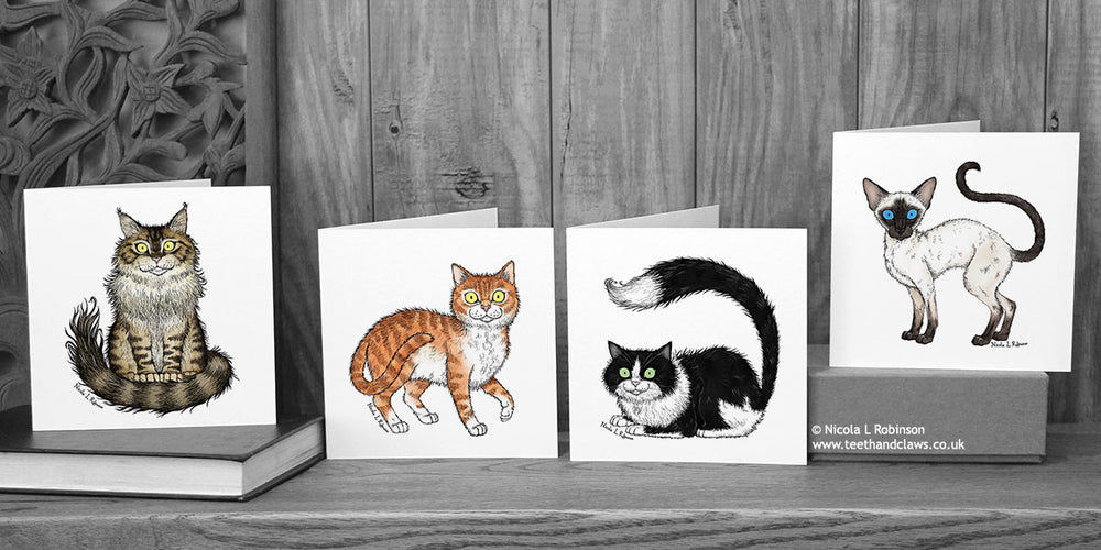 Illustrated cat greeting cards © Nicola L Robinson | Teeth and Claws
