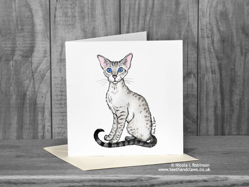 Snow leopard cat Greeting Card - Freya 'Katzenworld' © Nicola L Robinson | Teeth and Claws