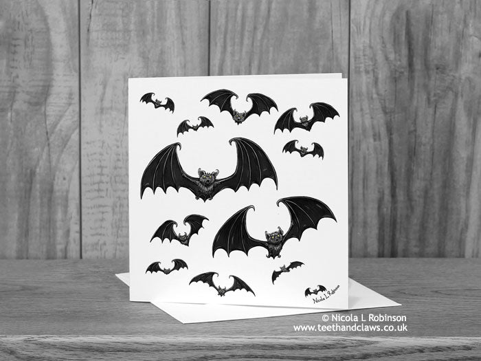Bat Greeting Card - Flying Gothic Bats © Nicola L Robinson | Teeth and Claws