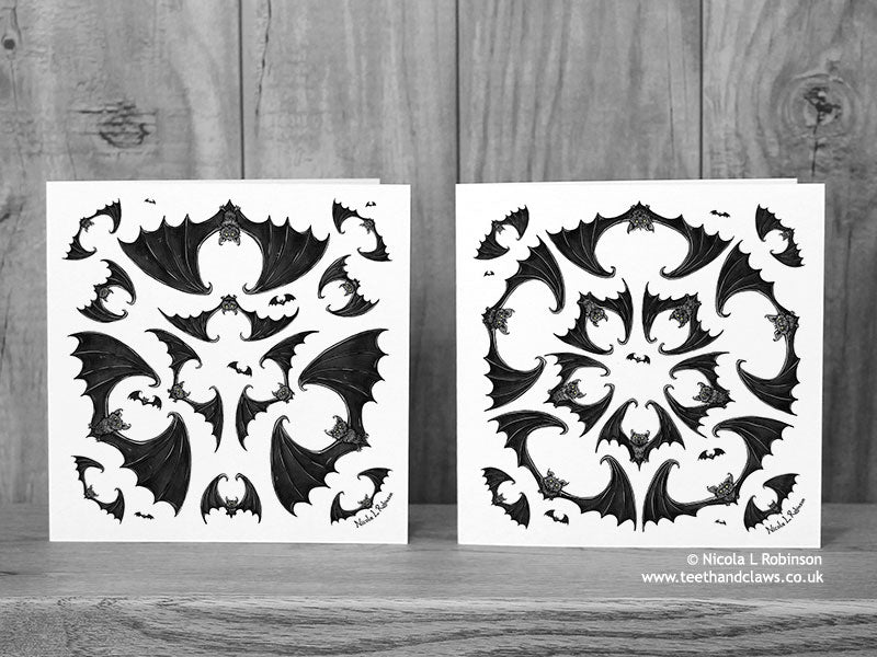 Bat Greeting Card - Gothic Bats © Nicola L Robinson | Teeth and Claws