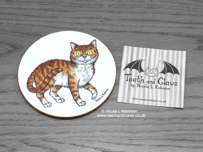 Cat Coaster - Ginger and White Cat © Nicola L Robinson | www.teethandclaws.co.uk