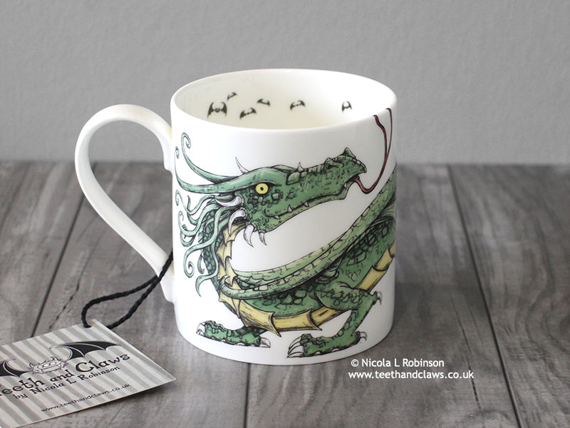 Green Dragon Mug - English Fine Bone China © Nicola L Robinson | Teeth and Claws