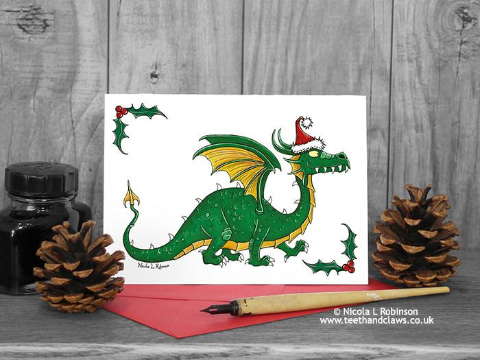 Green Santa Dragon Christmas Card