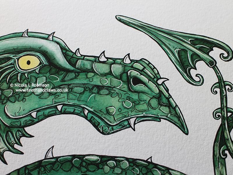 Close up of Green serpent dragon fine art print © Nicola L Robinson all rights reserved | www.teethandclaws.co.uk dragon gifts, dragon shop, dragon decor