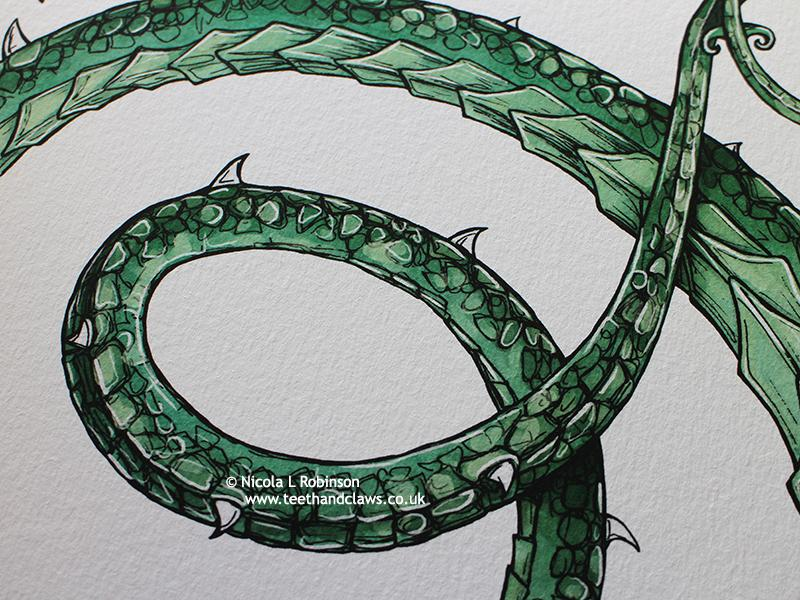 Green Serpent Dragon Art Print © Nicola L Robinson | Teeth and Claws