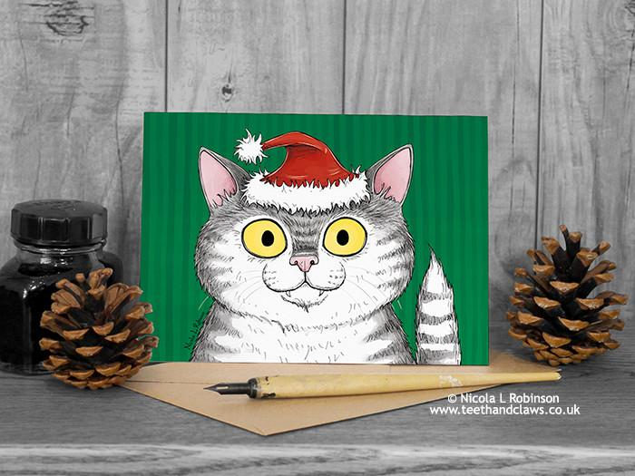Cat Christmas Card - Grey Tabby Cat