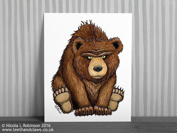 © Nicola L Robinson 2016 www.teethandclaws.co.uk Grizzly Bear Art Print Nursery Decor