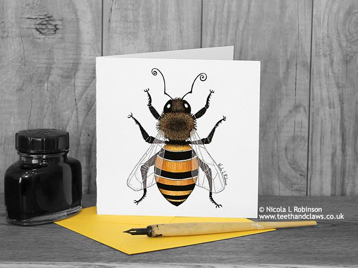Honey Bee Greeting Card © Nicola L Robinson | Teeth and Claws