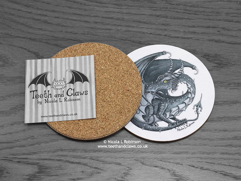 Dark Inky Dragon Coaster back | © Nicola L Robinson | www.teethandclaws.co.uk