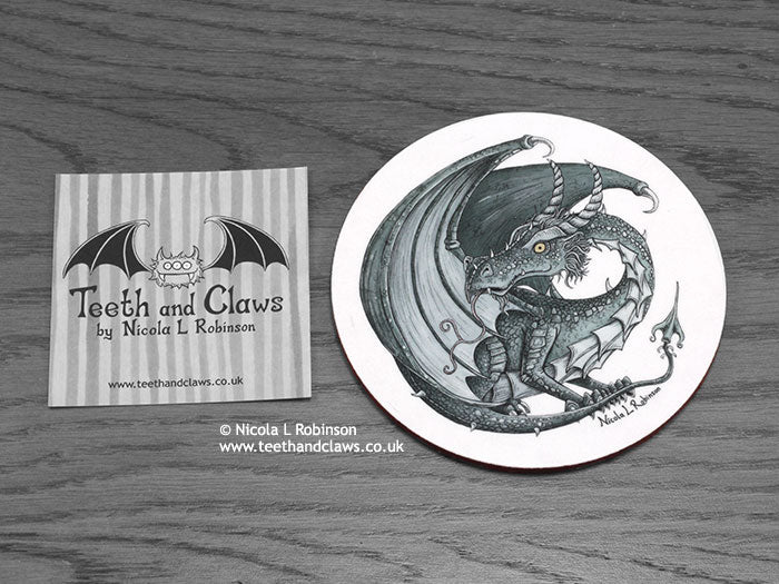 Dark Inky Dragon Coaster | © Nicola L Robinson | www.teethandclaws.co.uk