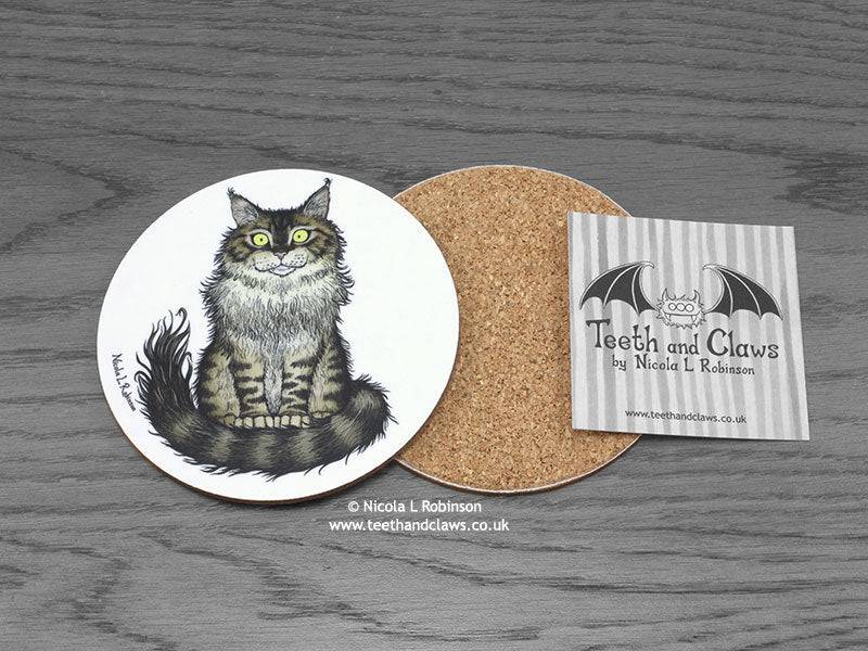 Cat Coaster - Maine Coon Cat © Nicola L Robinson | www.teethandclaws.co.uk