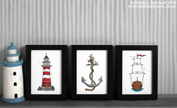 © Nicola L Robinson 2016 www.teethandclaws.co.uk Nautical Art Prints Home decor