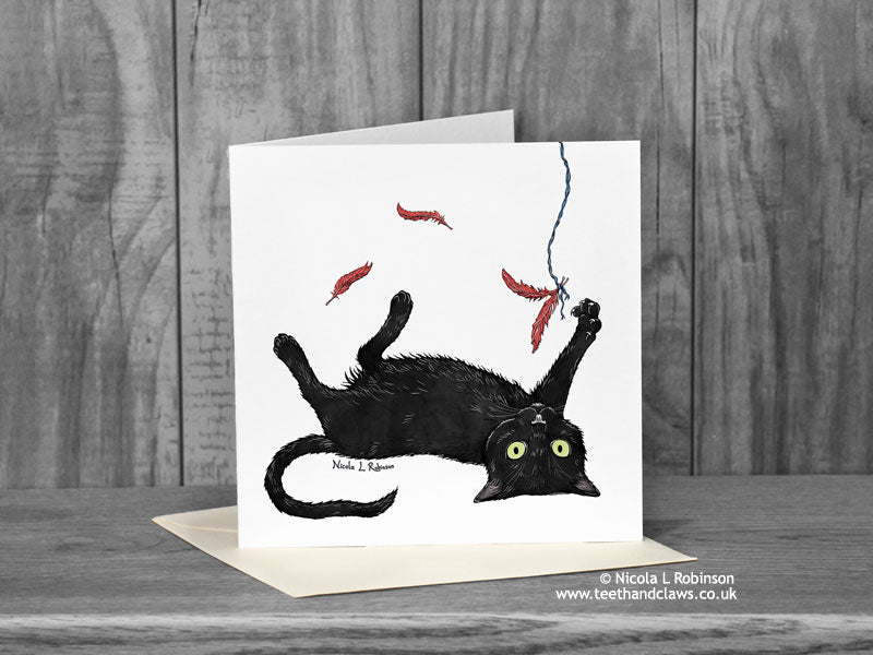 Black Cat Greeting Card - Nubia 'Katzenworld' © Nicola L Robinson | Teeth and Claws